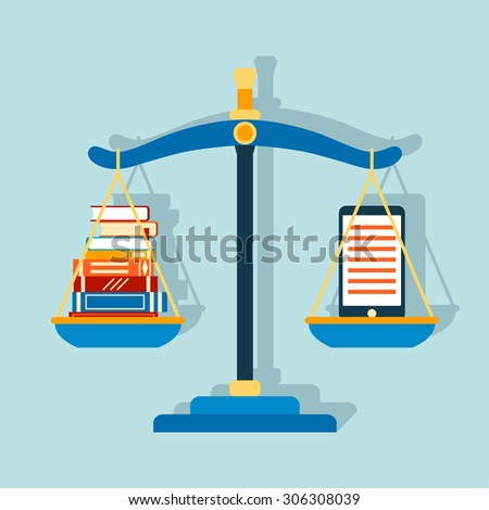 Smartphone e-book and stack of paper books at the scales. Vector illustration - stock vector