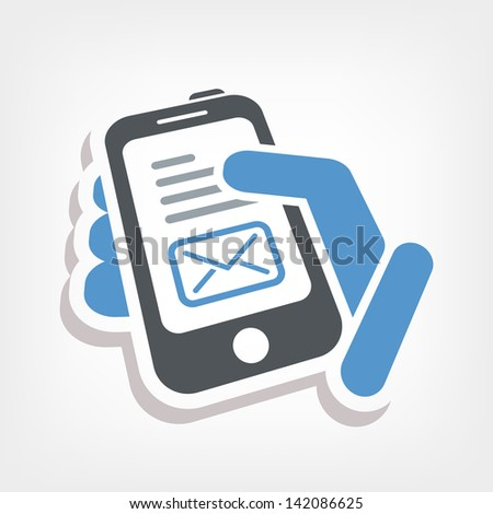 Smartphone e-mail icon - stock vector