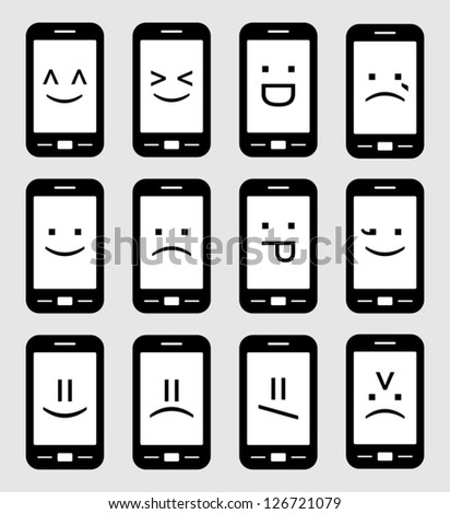 smartphone emoticons - stock vector