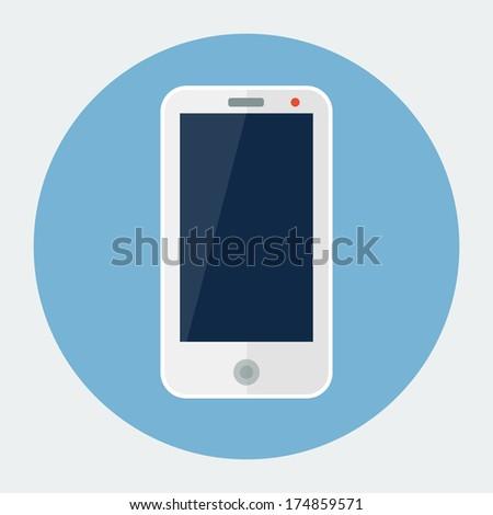 Smartphone flat icon - stock vector