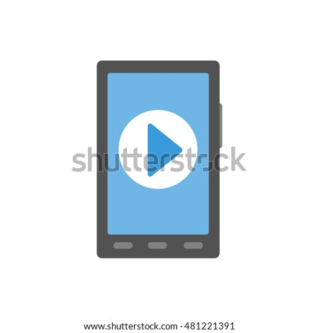 smartphone flat icon. phone play button