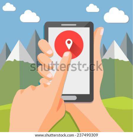Smartphone geo check-in of mountain landscape - flat design - stock vector