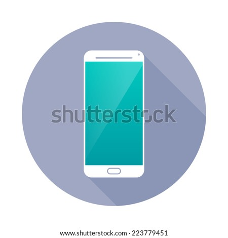 Smartphone icon in circle. - stock vector
