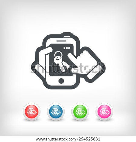 Smartphone icon. Key access. - stock vector