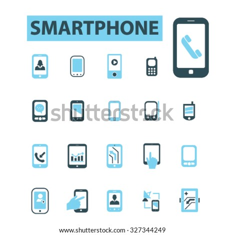 smartphone icons - stock vector