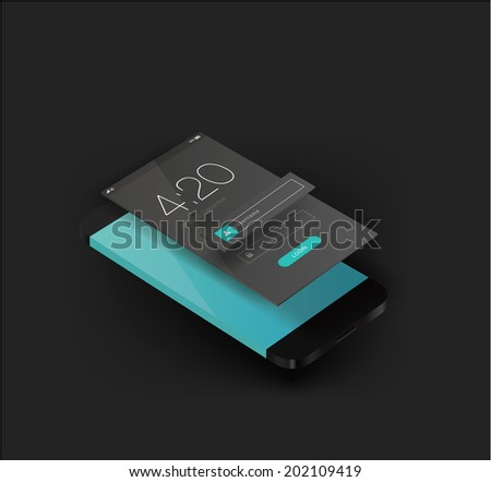 smartphone illustration 3d vector perspective view for UI design - stock vector
