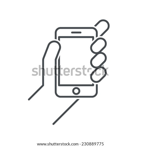 smartphone in hand, hand holding smartphone, smartphone vector icon - stock vector