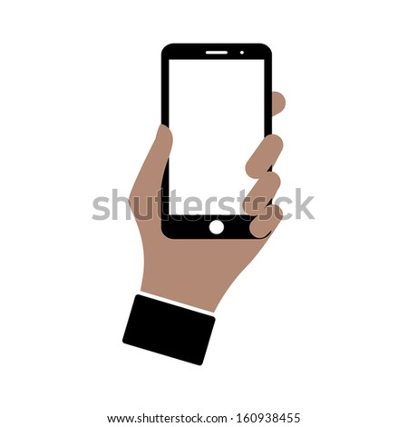 smartphone in hand. icon isolated on white. vector eps8 - stock vector