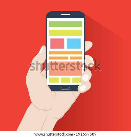 Smartphone in hand in flat design style isolated on red background - stock vector