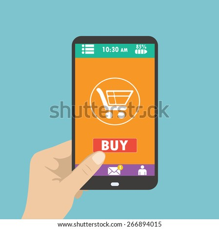 Smartphone in hand. mobile shopping button, flat design - stock vector