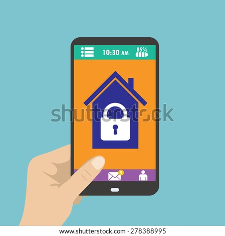 Smartphone in hand. smart house or security at home. Vector - stock vector