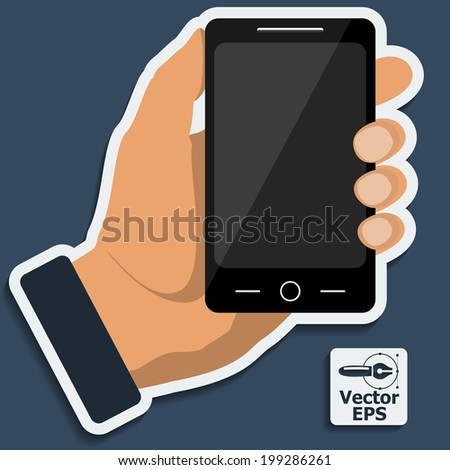 Smartphone in hand template for web and mobile applications. Vector.