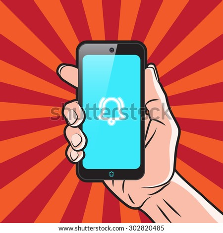 Smartphone in Hand with Alarm Icon on Screen - stock vector