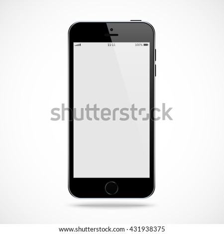 smartphone in iphone style black color with blank touch screen isolated on the grey background. stock vector illustration eps10 - stock vector