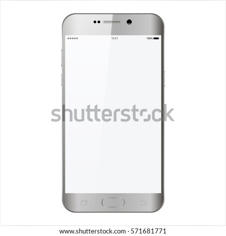 Smartphone in samsung phone style gray color with blank touch screen isolated on white background vector illustration