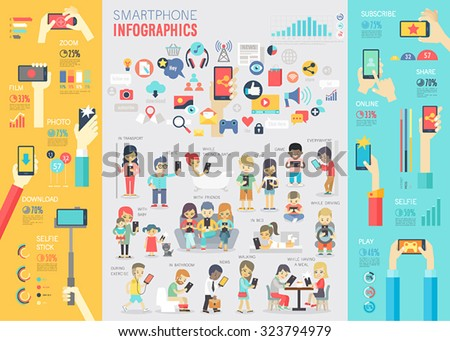 Smartphone Infographic set with charts and other elements. Vector illustration. - stock vector