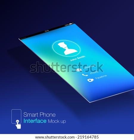 smartphone interface Ui design Mock up,phone6 Ratio screen,blue background - stock vector
