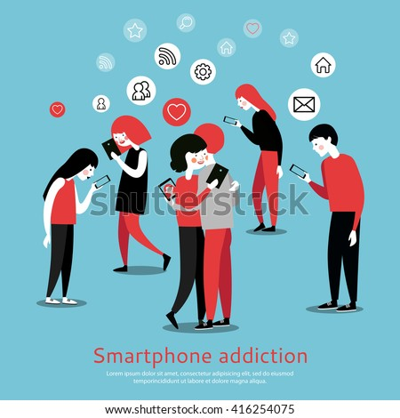 Smartphone internet addiction awareness flat poster with people chatting with virtual friends and checking mails abstract vector illustration  - stock vector