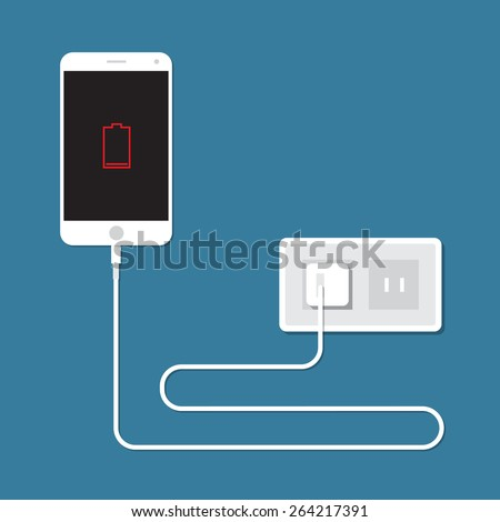 Smartphone is charging. Concept of low battery. - stock vector