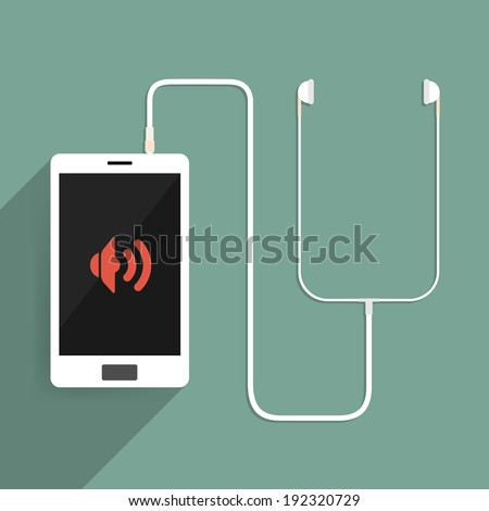 Smartphone is connected to the headset. vector illustration. - stock vector
