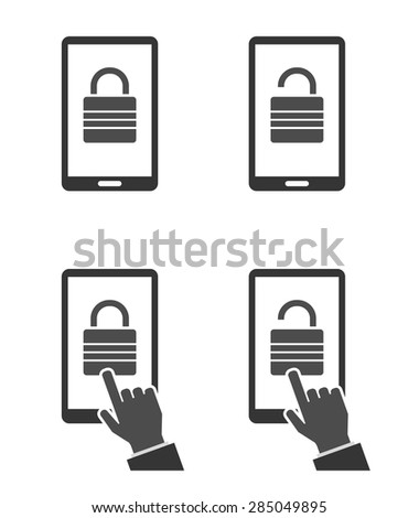 smartphone locked with padlock icon and hand cursor - concept for website - stock vector