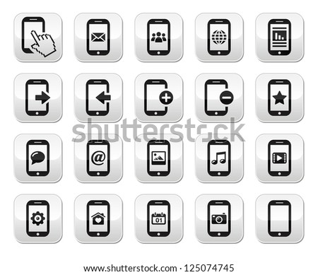 Smartphone / mobile or cell phone buttons set - stock vector