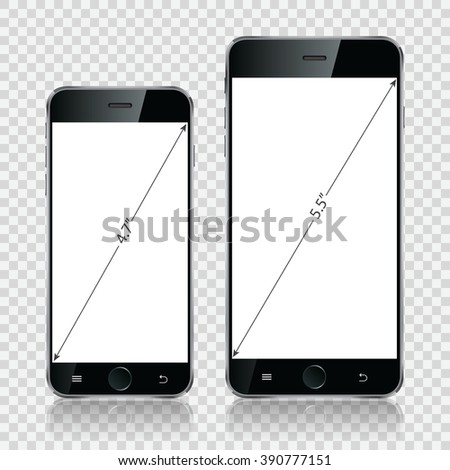 Smartphone, mobile phone isolated, realistic device on transparent background. Vector illustration eps10. - stock vector