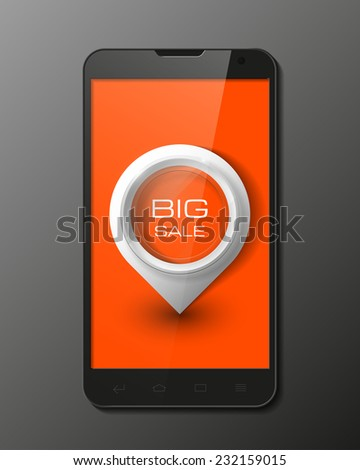 Smartphone, mobile phone isolated with pointers to big sale, realistic vector illustration. - stock vector