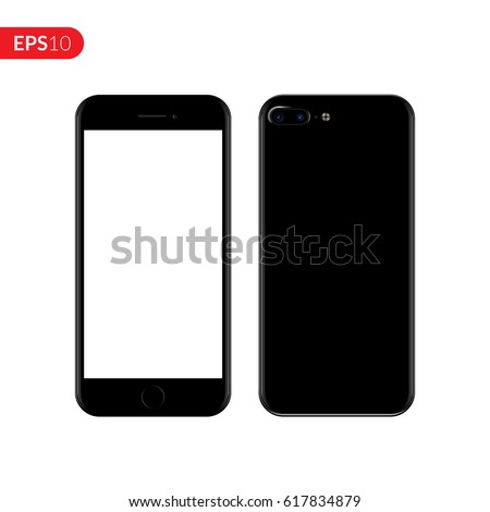 Smartphone Mobile Phone Mockup Isolated On White Background With Blank Screen Back And