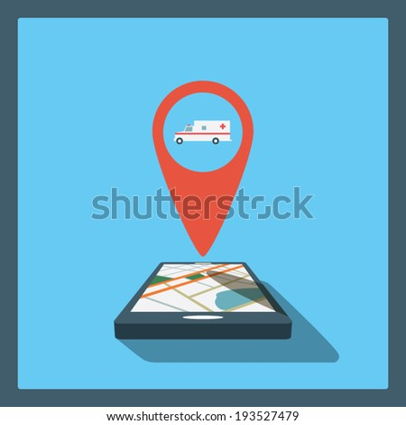 Smartphone navigation in modern flat design with a symbol of ambulance car. Eps10 vector illustration. - stock vector