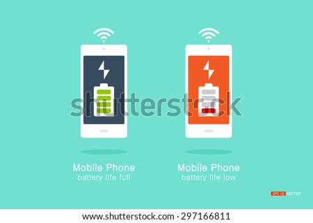 smartphone or mobile phone, battery life information Viewing on Mobile, Full energy and low energy, vector eps 10 - stock vector