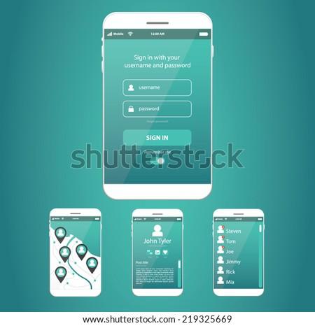 Smartphone or tablet realistic vector, app website design - stock vector