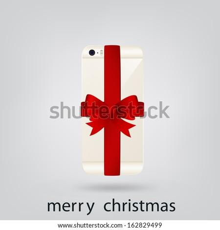 Smartphone platinum Christmas present - stock vector