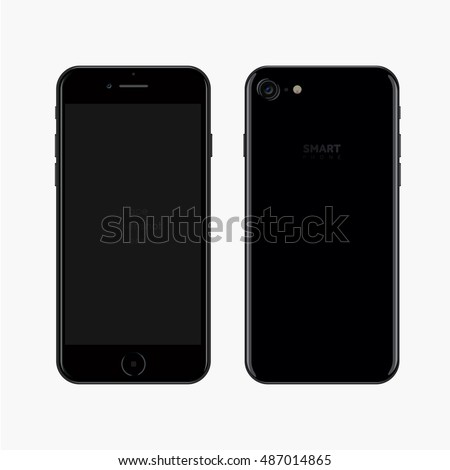 Smartphone realistic vector illustration. Black smart phone. New Phone front and back view. isolated iphon style smartphone. Simple smartphone image for your screenshot placement. Mobile phone mockup.