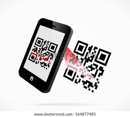 Smartphone scanning QR-code - stock vector