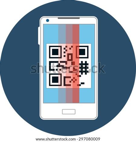 Smartphone Scanning QR Code.Vector Flat Icon - stock vector