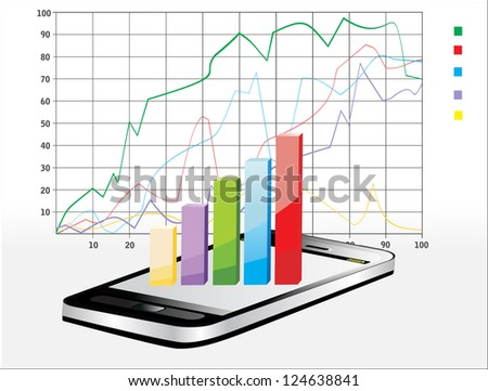 Smartphone showing a spreadsheet with some 3d charts over it - stock vector