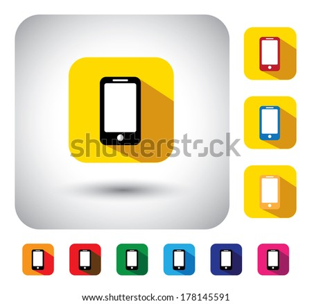 smartphone sign on button - flat design vector icon. This long shadows graphic symbol also represents modern communication device, personal organizer, mobile phone, cell phone, etc - stock vector