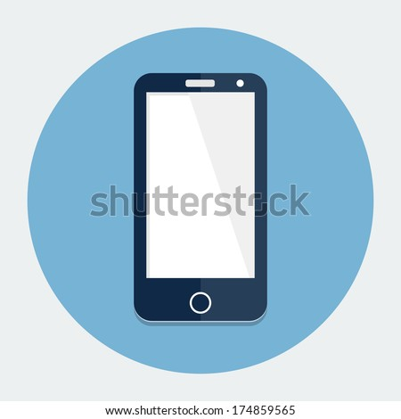 Smartphone single flat icon - stock vector