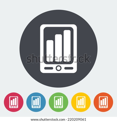 Smartphone. Single flat icon on the circle. Vector illustration. - stock vector