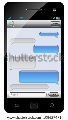 Smartphone sms chat template with balloons for your text. - stock vector