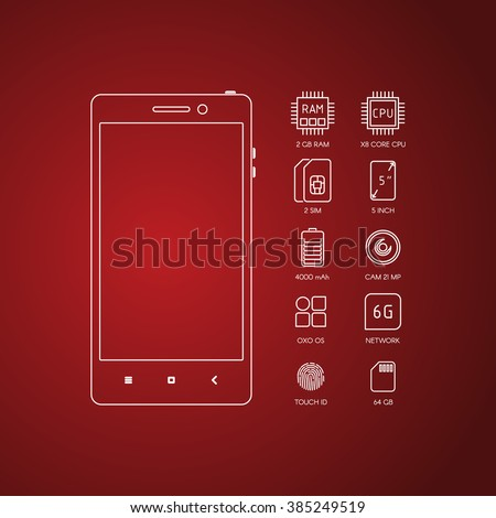 Smartphone specification with flat line icons. Gadget description. - stock vector