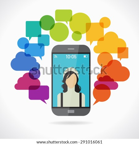 Smartphone surrounded by speech bubble.  Concept communication. The idea of a mobile chat. This illustration contains a transparency - stock vector