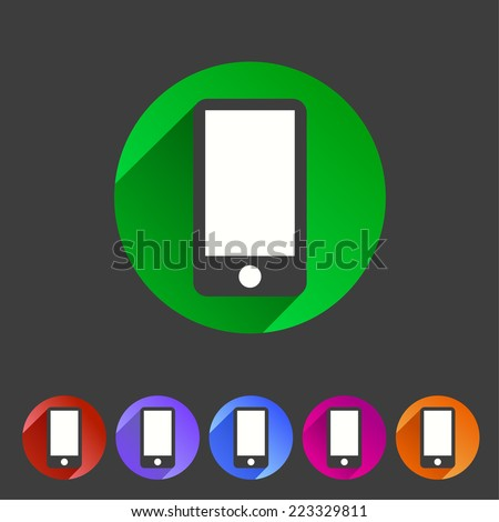 Smartphone tablet flat icon badge - stock vector