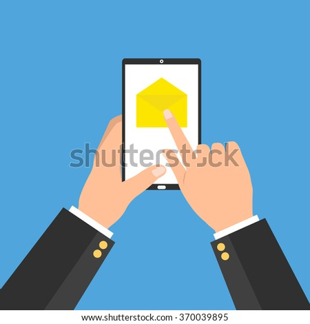 Smartphone tablet with email and human hands press for open on blue background. Flat design of business online internet design.  - stock vector