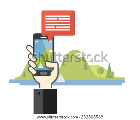 Smartphone taking photo of nature landscape - Flat design - stock vector