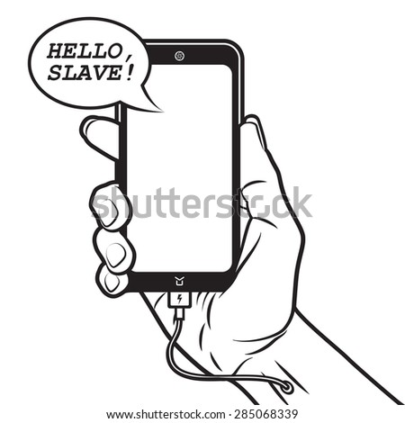 Smartphone Talks with Human and Charges himself from Hand - stock vector