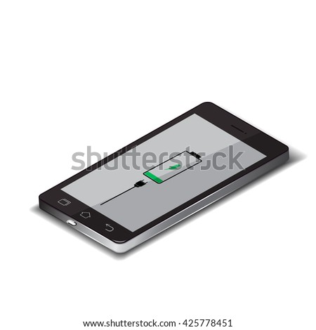 Smartphone technology, low battery vector illustration.