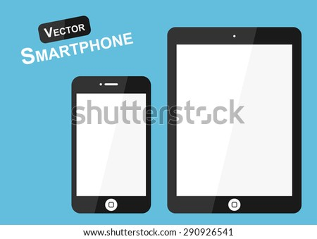 Smartphone vector ( Flat design ) on blue background ( high tech object ) - stock vector