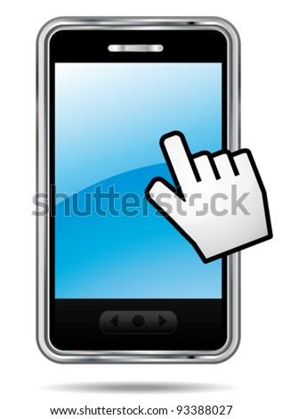 Smartphone vector icon with hand cursor. Touchscreen symbol. - stock vector